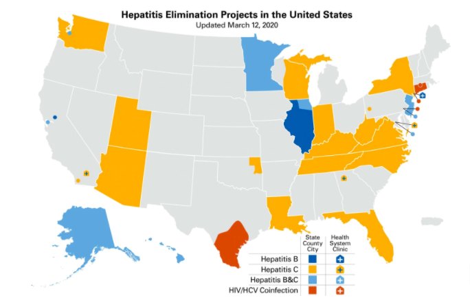 National map of Hepatitis Elimination Project locations in the United States